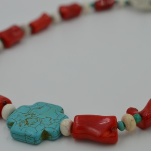 Bamboo Sponge Coral Necklace with Turquoise Howlite Cross