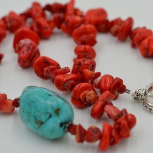 Red Turquoise Howlite & Red Sponge Coral Necklace w/Turquoise Center Stone
