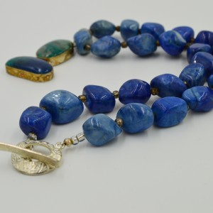 Vintage Jasper and Crysicolla Pendant on Lapis Howlite Necklace