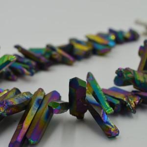 Rainbow Titanium Druzy Quartz Statement Necklace