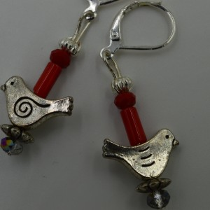 Red Agate Earrings w/ Hinged Back