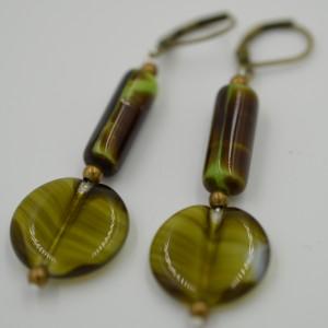 Green Earthtone Agate Earrings