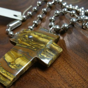wood agate cross necklace