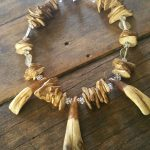 buffalo tooth and wood statement necklace