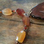 carnelian agate necklace with slab pendant