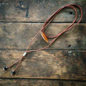 leather chord lariat with blown glass beads