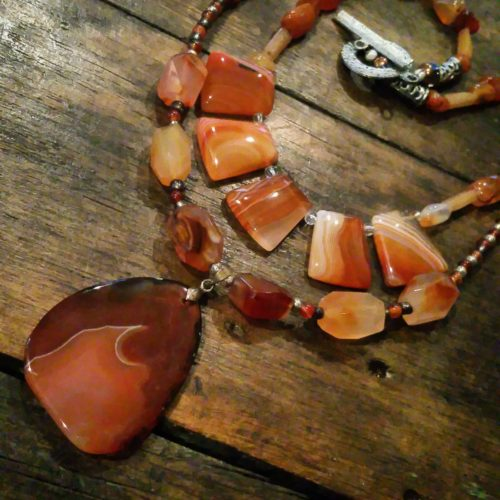 carnelian agate necklace with slab pendant