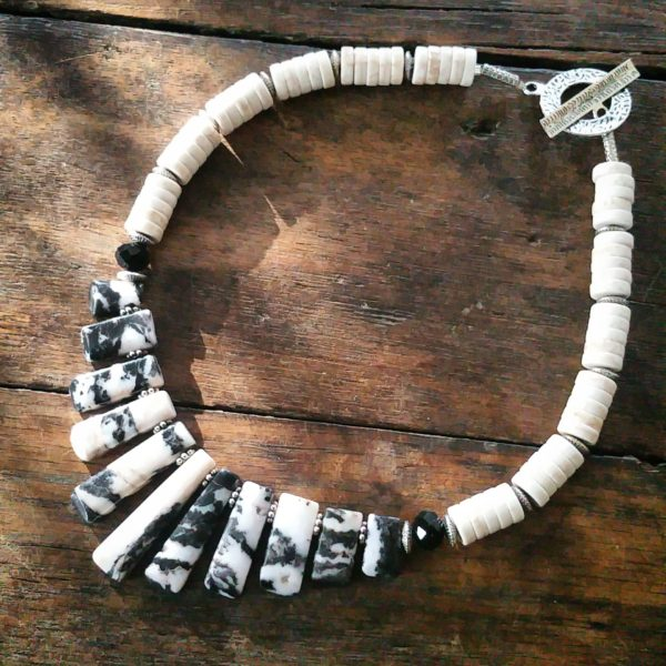 mother of pearl heishi crystals and zebra jasper focal necklace