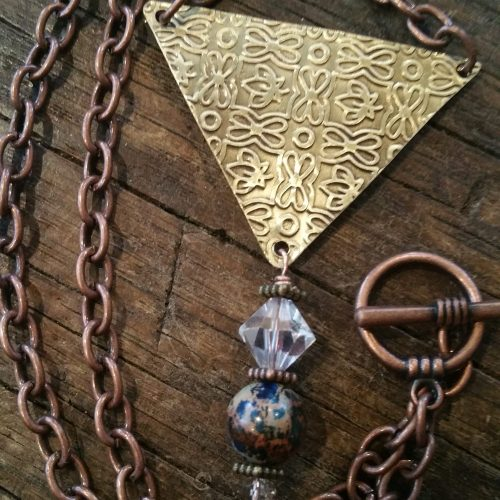 embossed brass pendant necklace
