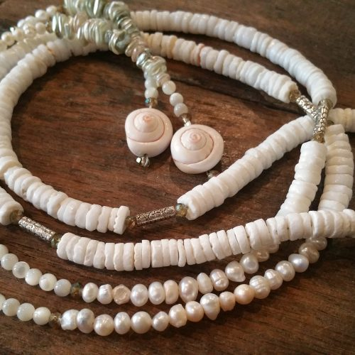 shell heishi mother of pearl and crystal lariat