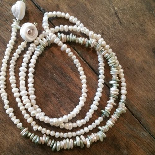 fresh water pearl and shell lariat