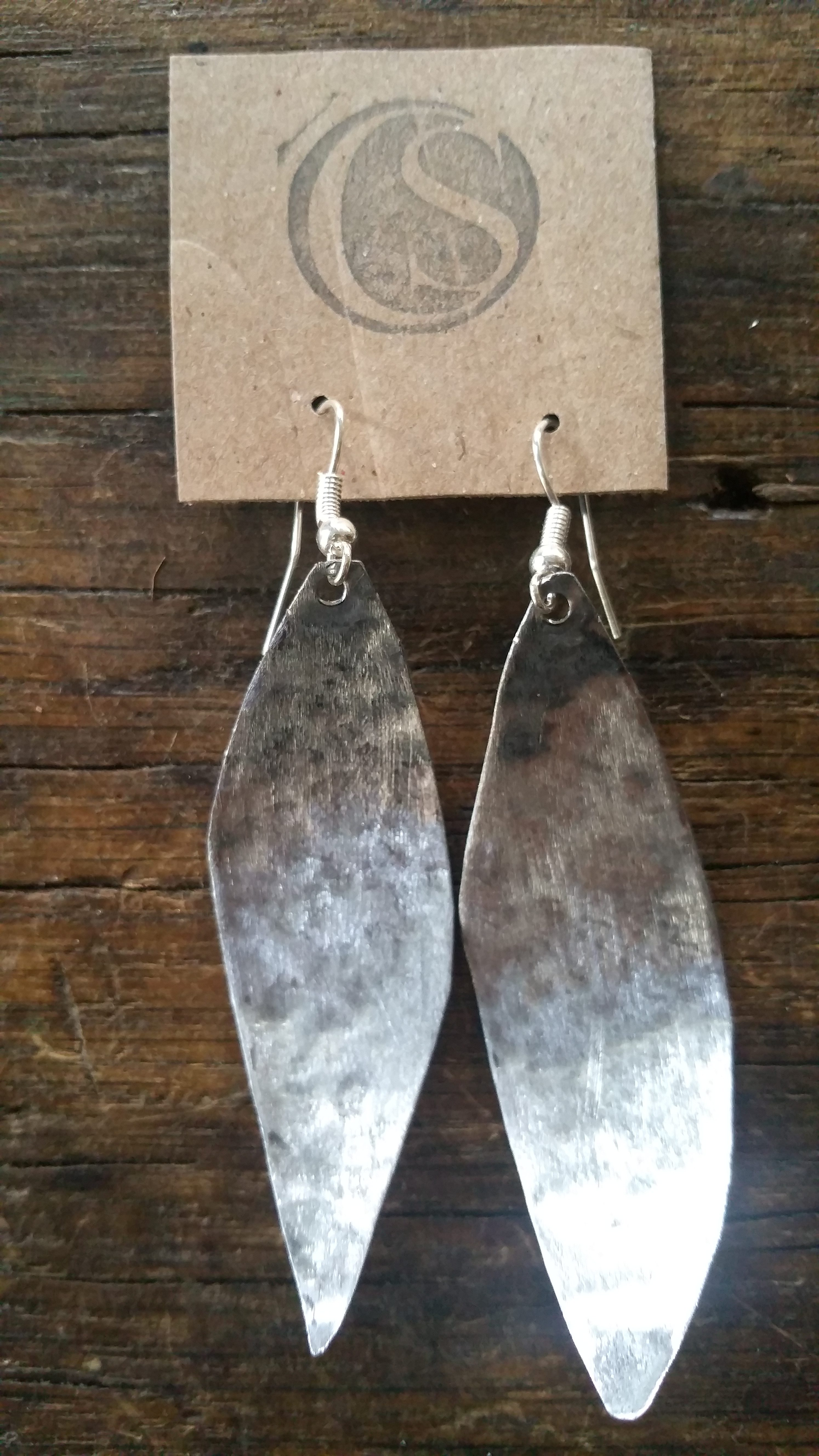 Brushed Galvanized Silver Leaf Earrings