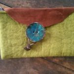 felted wool green clutch