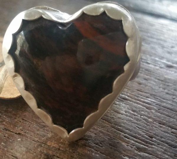 mahogany obsidian heart ring