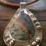 Crazy Lace Agate Sculpture Wear on Copper Neck Wire