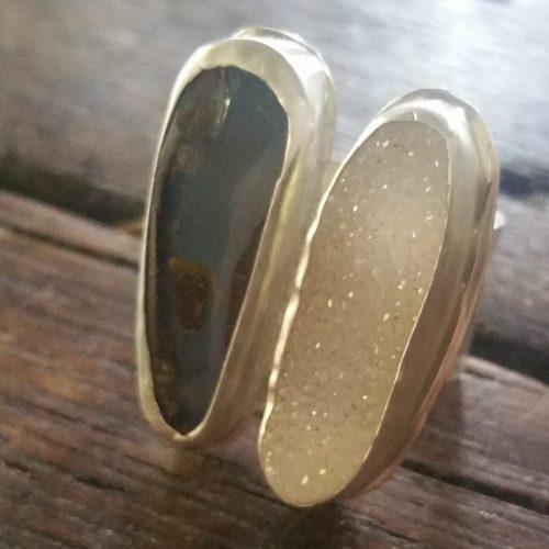 boulder opal and druzy floating ring