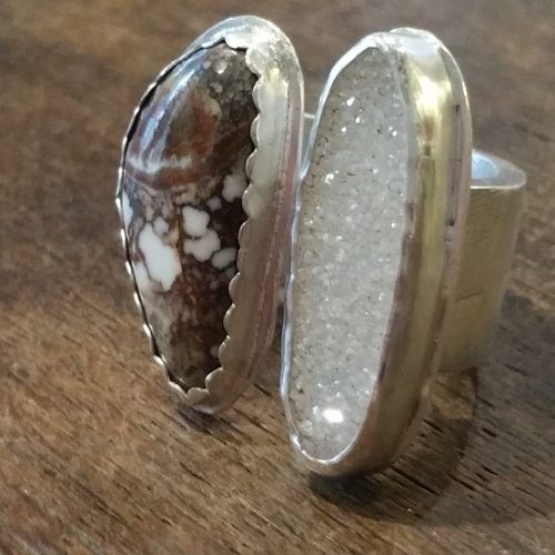 Floating Ring of Wild Horse and Druzy