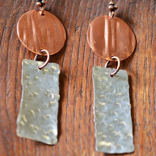 copper and stainless steel earrings
