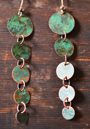 verdigris copper earrings