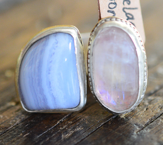 blue lace agate and moonstone floating ring